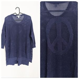 Cotton by Autumn Cashmere Navy Peace Sign Sweater